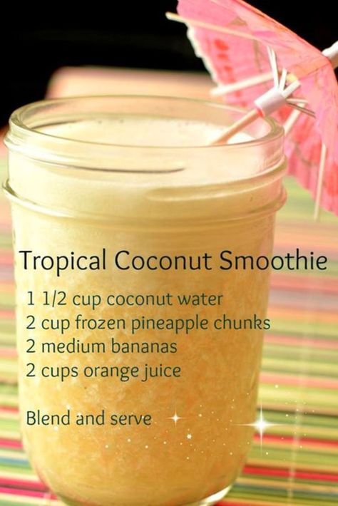 Tropical coconut smoothie recipe - healthy smoothie recipes with coconut water, . Tropical coconut smoothie recipe - healthy smoothie recipes with coconut water, pineapple, bananas and orange juice Easy Smoothies, Green Smoothie Recipes, Smoothie Drinks, Breakfast Smoothies, Detox Drinks, Detox Juices, Healthy Juices, Smoothie With Orange Juice, Fruit Smoothie Recipes