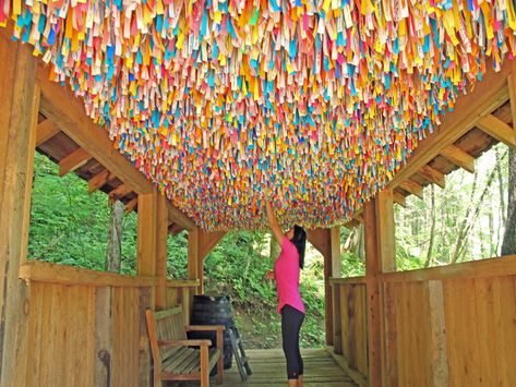 A unique covered bridge where visitors can hang up their wishes and leave them to the winds of prosperity. Whispering Winds Covered Bridge and Lost Mine Falls Gatlinburg Vacation, Tennessee Vacation, Gatlinburg Tn, Vacation Rentals, Pigeon Forge Tennessee, East Tennessee, Nashville Tennessee, Sevierville Tennessee, Gatlinburg Tennessee