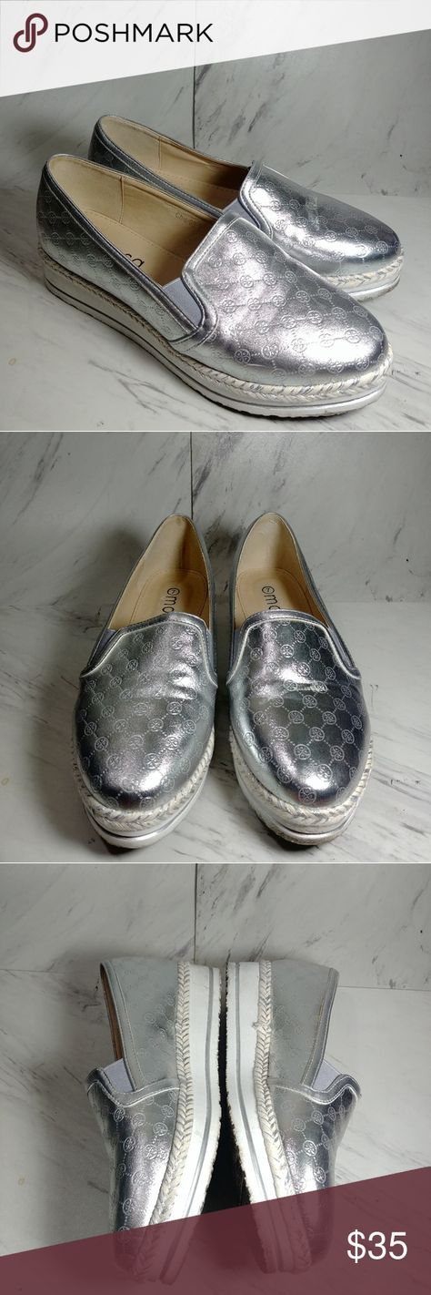 5bf1e7b6812 Moca Platform Silver Shoes No damage. Silver monogram moca shoes are in  great condition. moca Shoes Flats   Loafers