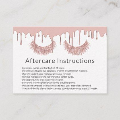 Lashes Makeup Artist Rose Gold Drips Aftercare Business Card Zazzle Com Lashes Makeup Skin Care Salon Gold Drip