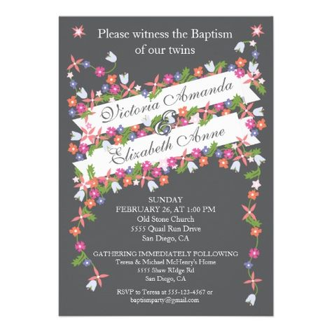 Modern Floral Twins Baptism Invitations Baptism invitations and Twins - sample baptismal invitation for twins