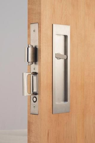 Picture Of Accurate Pocket Door Privacy Lock Set With Rectangular Flush Pulls 2002cpdl 5 Sliding Bathroom Doors Pocket Doors Pocket Door Hardware