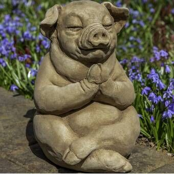 Sleeping Pig Statue Made from Reconstituted Stone
