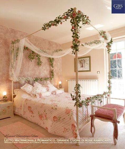 Letto Matrimoniale Grande.Matrimoniale Romantico Grande Cuore Di Rose Camera Inspo