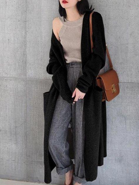 Women Knitted Long Sleeve Open Front Long Maxi Cardigan #womensfashiongrungetomboys