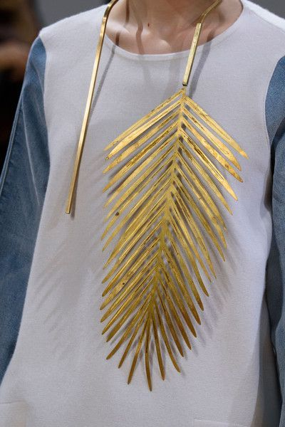 // Allude at Paris Spring 2016. Not sure this gold palm frond necklace is super wearable but I still love it!