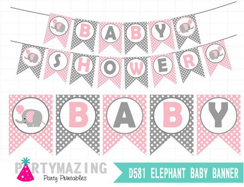 Pink Elephant Printable Banner Pink Baby Shower DIY by Partymazing