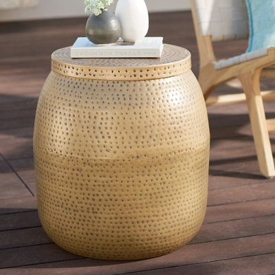 Delilah Outdoor Side Table With Storage Gold Antique Grandin
