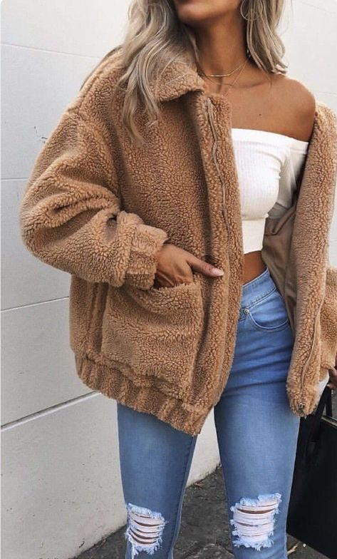 Brown teddy bear jackets coat outfits street fashion