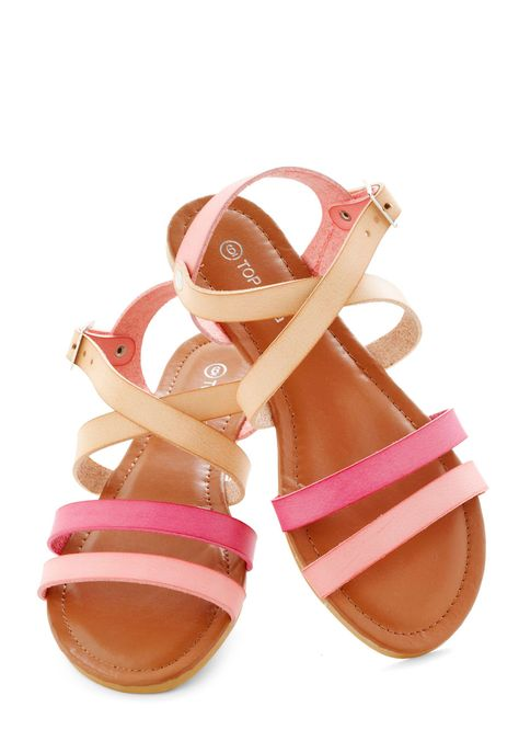 Beachside Breakfast in Petal - Coral, Colorblocking, Summer, Flat, Variation, Beach/Resort, Pink, Tan / Cream, Solid, Casual, Boho, Faux Leather, Strappy