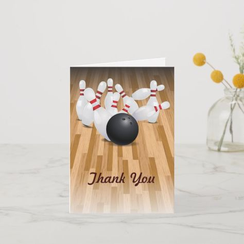 Bowl A Strike Thank You Card Zazzle Com In 2020 Thank You Cards Your Cards Cards