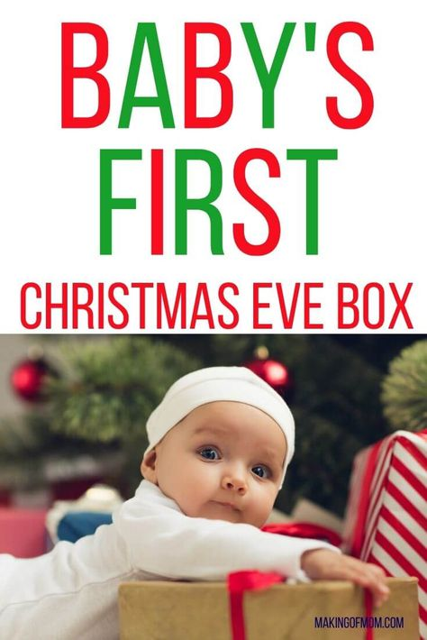Baby's first Christmas is such a beautiful time to make memories and start traditions with your growing family. The Christmas Eve box is a fun one that you can start now - whether you've got a newborn, baby, toddler or big kid! Christmas Eve Box For Kids, Baby Christmas Crafts, Christmas Traditions Kids, Baby's First Christmas Gifts, Newborn Christmas, Babies First Christmas, Toddler Christmas, Christmas Fun, Christmas Presents From Baby