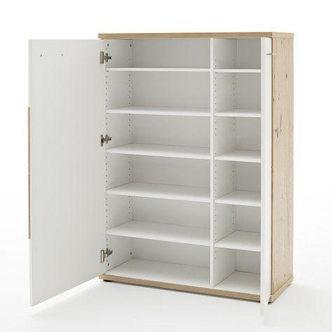 Viola Wooden Shoe Cabinet Left In Oak And Matt White Furniture In Fashion Wooden Shoe Cabinet Shoe Storage Cabinet With Doors Shoe Cabinet