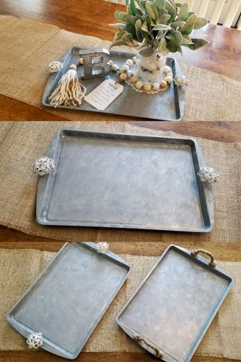 It's amazing how a simple cookie sheet from dollar tree can be transformed into a beautiful Faux Galvanized Service Tray with just a little paint and a couple pull knobs. I do use some power … Dollar Tree Decor, Dollar Tree Crafts, Dollar Tree Centerpieces, Dollar Tree Finds, Dollar Store Hacks, Dollar Stores, Dollar Tree Christmas, Christmas Diy, Merry Christmas