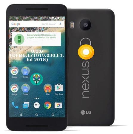 Root Google Nexus 5X Oreo 8 1 OPM6 171019 030 E1 Install TWRP