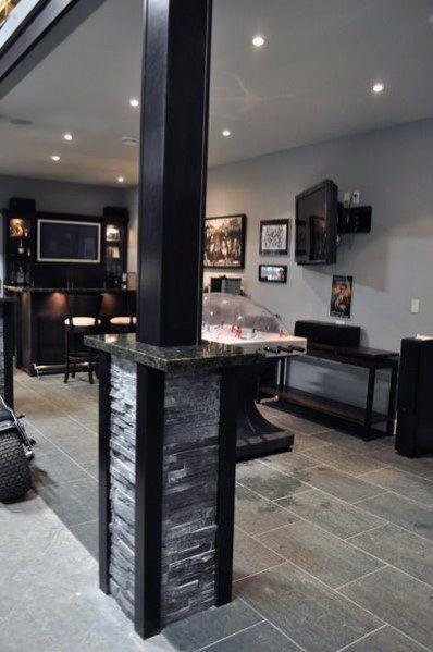 Stone Painted Black Basement Pole Cover Ideas In 2020 Basement Design Basement Poles Basement Renovations