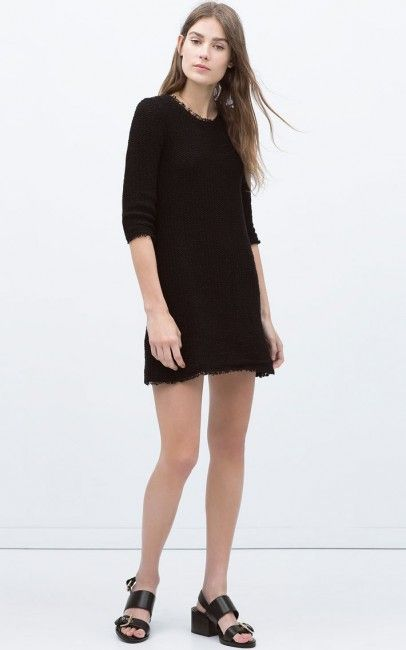 Siyah Renkli Zara Orgu Elbise Modelleri Kadinlive Com Elbise Modelleri Moda Stilleri Zara