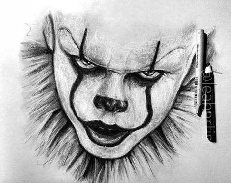 Sketch of Pennywise SNAP and INSTA: leahartist