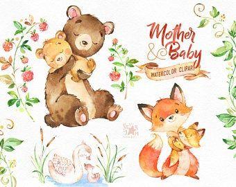 Mother Baby 2 Watercolor Animals Clipart Deer Rabbit Etsy Animal Clipart Watercolor Animals Cute Animal Clipart