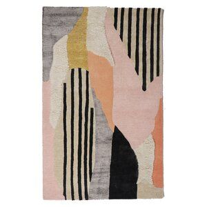 Femke Prismatic Wool Cotton Pink Green Black Area Rug With Images