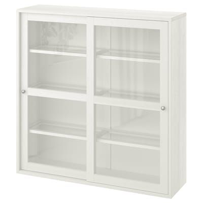 BRIMNES Cabinet with doors, glass, white, 30 34x37 38