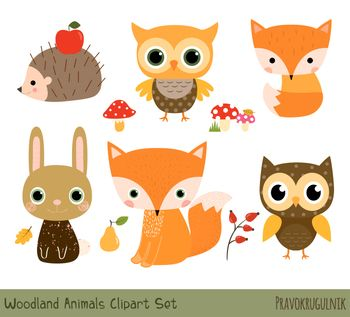 Cute Woodland Animal Clipart Forest Animal Clip Art Set Baby Fox Hedgehog Owl Woodland Animal Baby Shower Animal Clipart Cute Animal Clipart