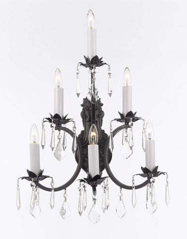 Wrought Iron Wall Sconce Crystal Lighting 3 Tier Wall Sconces W16