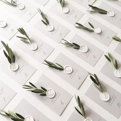 simple elegant wedding escort cards with olive branch details #obde #weddingideas2019