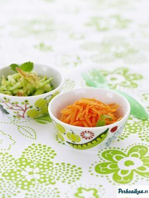 Soseista sormiruokaan - Mintulla maustettu kurkku-omenaraaste ja Hedelmäinen porkkanaraaste - Väestöliitto - Perheaikaa