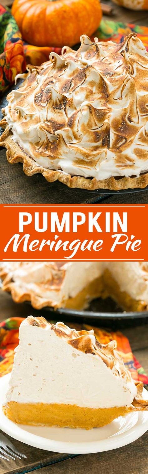 The most delicious pumpkin pie topped with a mountain of toasted brown sugar meringue.