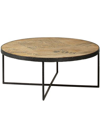 A Large Round Industrial Style Coffee Table. The Minimal Square Section  Metal Frame Supports A Solid Wood Top In Sustainable Mango Wood With  Warehouse Style ...