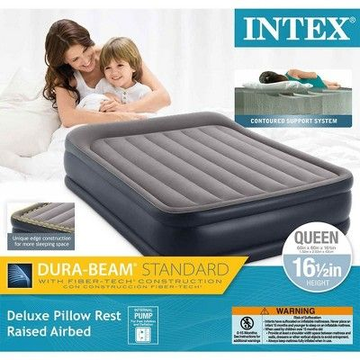 Open Box Intex Deluxe Pillow Rest Queen Raised Built-In Pump Fiber-Tech Airbed