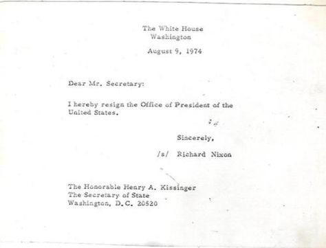 On August 9th, 1974, The White House issued a press release of the - nixon resignation letter