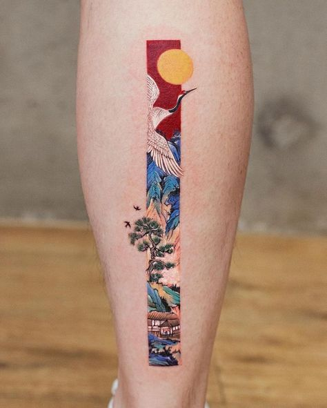 Rectangular Tattoo Art Inspired by Traditional Chinese Paintings