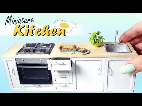 Miniature Kitchen Tutorial // Dolls/Dollhouse DIY - YouTube