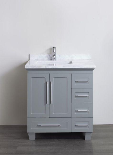 Accanto Contemporary 30 inch Grey Finish Bathroom Vanity Marble Countertop