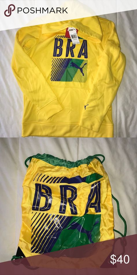 df0b270af671 Puma Big Boys Olympic Hoodie and Carry Sack Big Boys  Brazil Olympic Hoodie  and Carry Sack 100% Polyester Imported Machine Wash Gift with purchase  carry ...