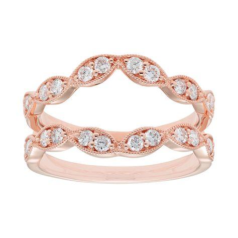 14k Gold 1 2 Carat T W Diamond Scalloped Enhancer Wedding Ring Women S Size 9 White Wedding Ring Enhancers Wedding Rings Diamond