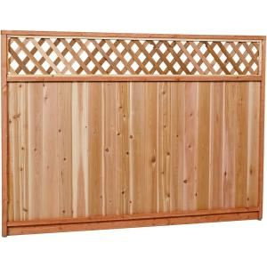 6 Ft X 8 Ft Premium Cedar Lattice Top Fence Panel With Stained Spf Frame Actual Size 68 3 8 Cedar Wood Fence Fence With Lattice Top Lattice Fence Panels