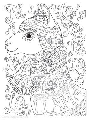 Fa La La La La La La Llama Coloring Page By Thaneeya Christmas Coloring Pages Animal Coloring Pages Mandala Coloring Pages