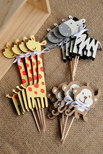 Animal Cupcake Toppers  – Jungle Baby Shower Decorations (12CT) - Free Shipping on Etsy, $19.99