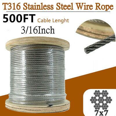 Ad Ebay 3 16 T316 Stainless Steel Cable Wire 7x7 Rope500ft Aircraft Cable For Rigging Us In 2020 Stainless Steel Wire Stainless Steel Cable