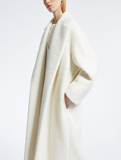 Alpaca coat, white -