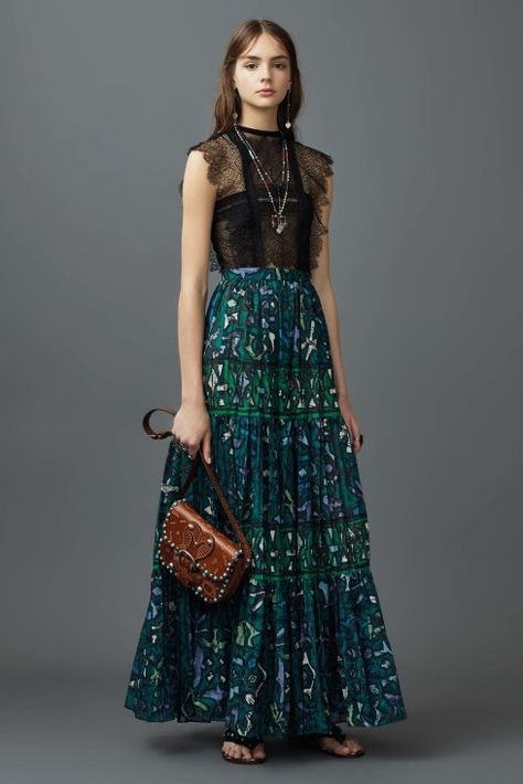Resort 2017 | Valentino | Black lace scallop top with blue and green stained glass maxi skirt | The Luxe Lookbook