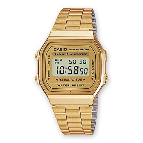b41b1c34e00 Casio A168WG-9 Men s Vintage Gold Metal Band Illuminator ...