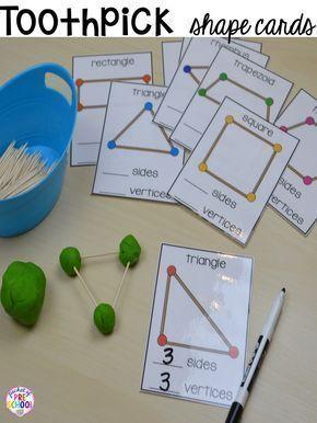 2D shapes activities for preschool, pre-k, and kindergarten. Shape mats (legos, geoboards, etc), play dough mats, posters, sorting mats, worksheets,  MORE.