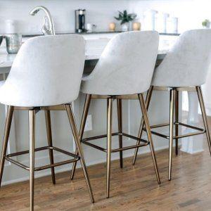 Mid Century Velvet Swivel Counter Stool In 2020 Modern Kitchen Stools Modern Counter Stools Kitchen Counter Stools