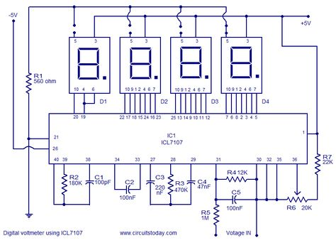 9d502da72eb205ddf0bf52960a53f0ff electronics projects circuit digital voltmeter using icl7107 elektronik eleman pinterest digital dc voltmeter circuit diagram at bayanpartner.co