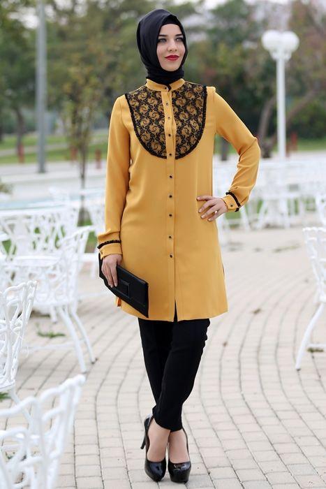 Hardal Tunik Zumre Tesettur Giyim Modelleri 2020 Tunik Moda Stilleri Musluman Modasi