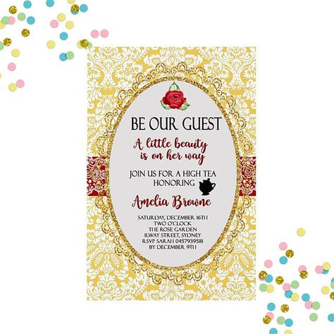 Beauty and the Beast Birthday Invitations Die Cut Hand Mirror PRINTED
